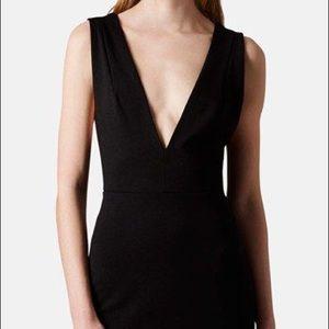 Topshop Jersey Deep V Bodycon Mini Dress